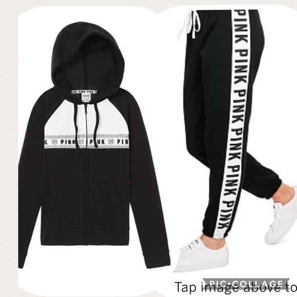 Victoria/'s Secret PINK Perfect Full Zip+Classic Jogger Set